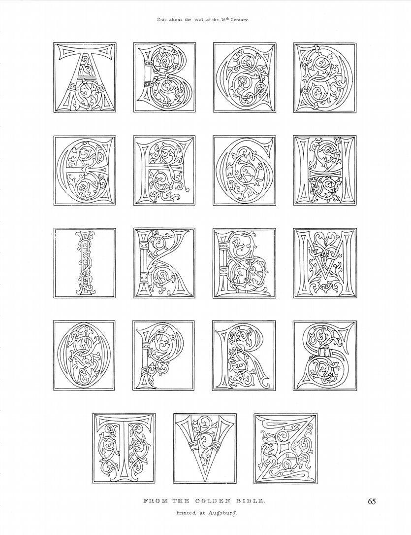 15th Century Alphabet Mittelalter Abc Ausmalen