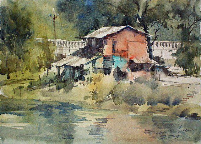Red house along the Perfume River (Hương Giang), Hue, Vietnam (watercolor, 22x30 cm)