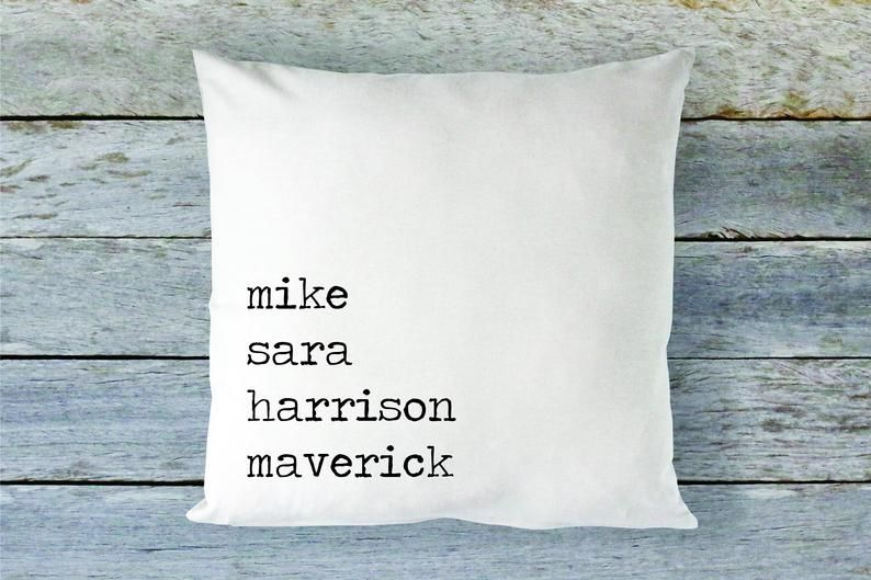 Family Names Throw Pillow Cover Name Pillow Custom Etsy