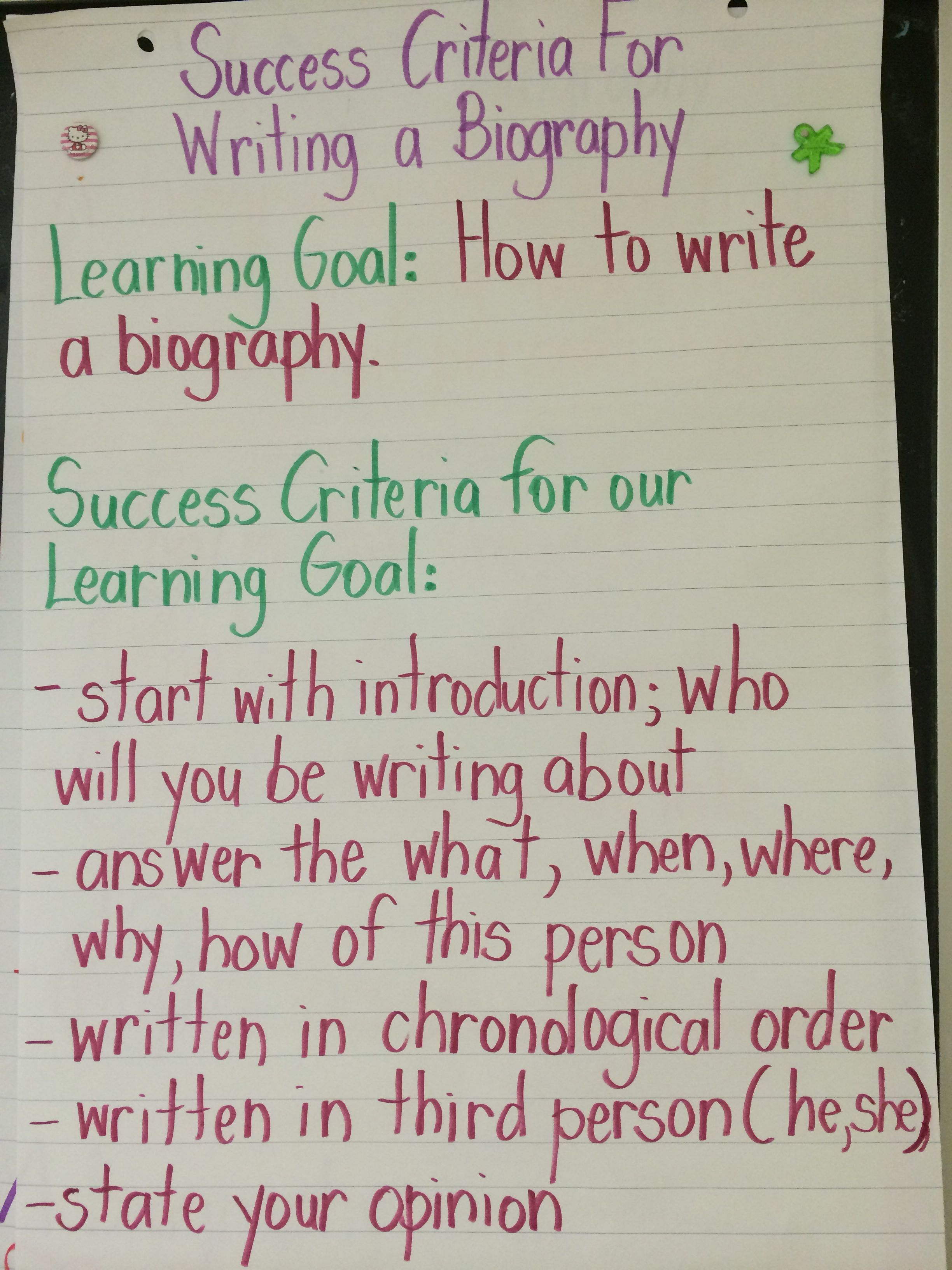 teaching biography examples