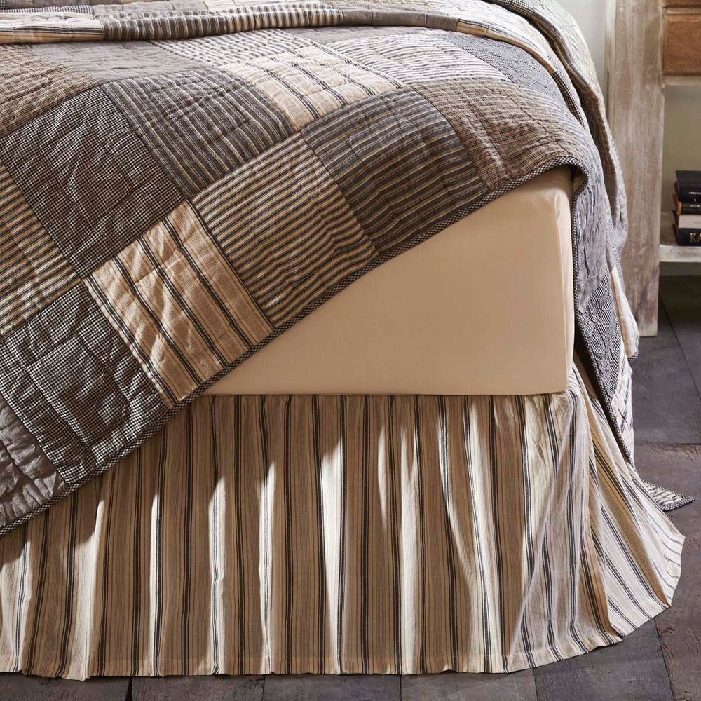 Home, Furniture & DIY Bedding SAWYER MILL RED TICKING STRIPE BED SKIRT Farmhouse Bedding Cotton VHC Brands