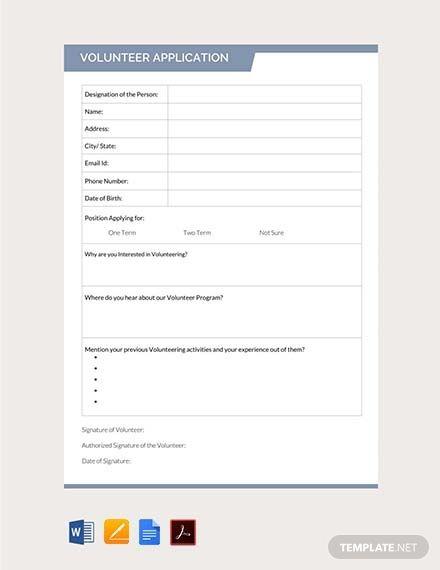 free volunteer application form volunteer application. Black Bedroom Furniture Sets. Home Design Ideas