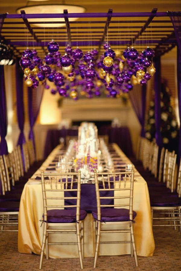 Laker inspired purple and gold tablescape. Caroline Tran.   Wedding ...