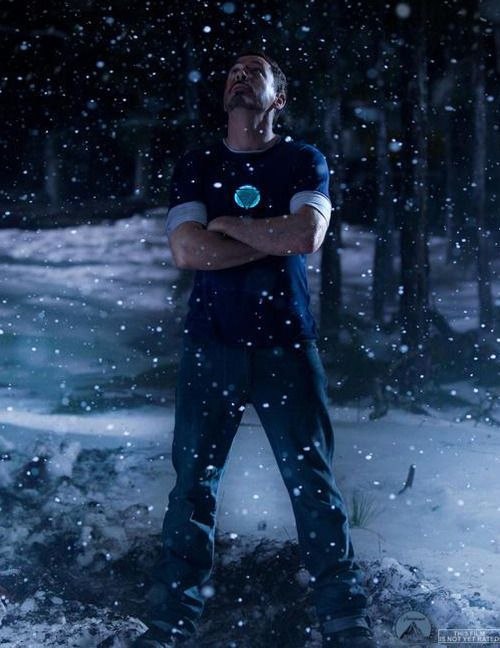 """NEW -- just-released still from """"Iron Man 3"""" - Tony in the forest. (Dec. 26, 2012)"""