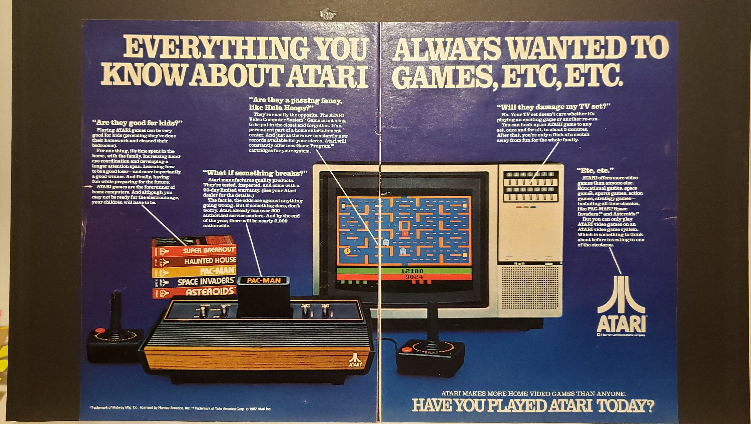 1982 Atari Video Game System 2Page Print Ad from Sept