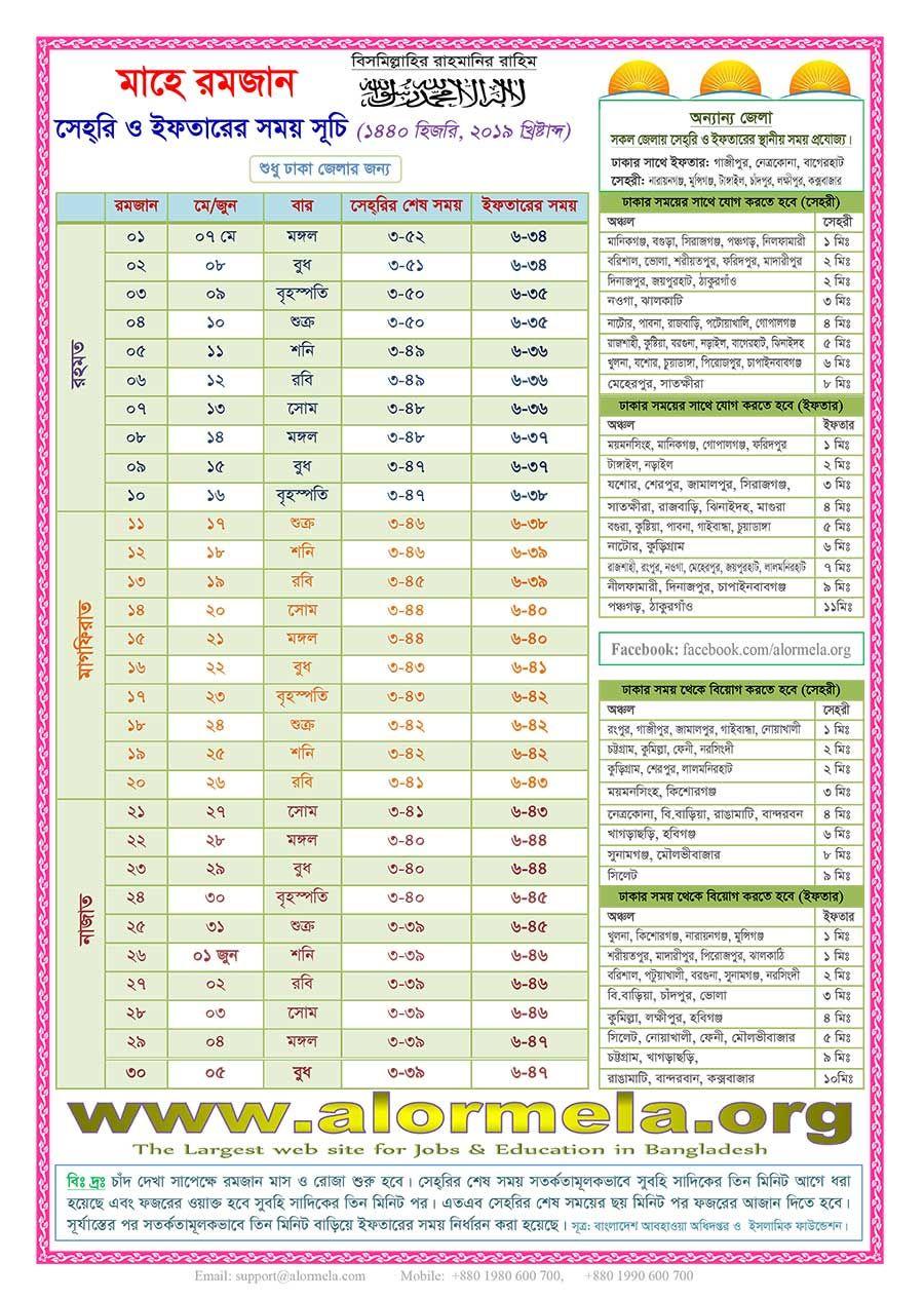 Ramadan Calendar 2019 Hijri 1440 Printable Calendar 2020