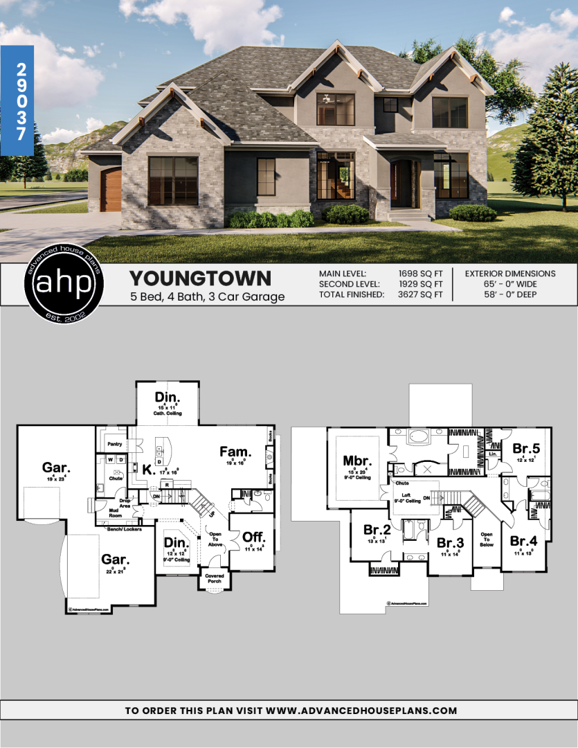 2 Story Traditional House Plan Youngtown Traditional House