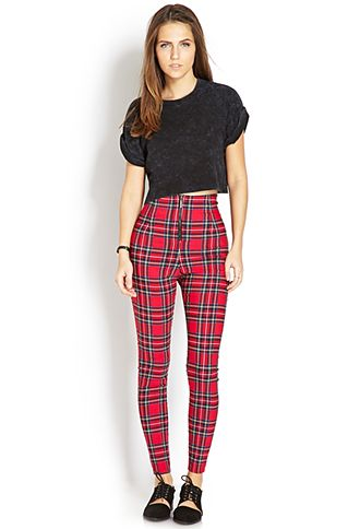 522914da02c4 High-Waisted Plaid Pants