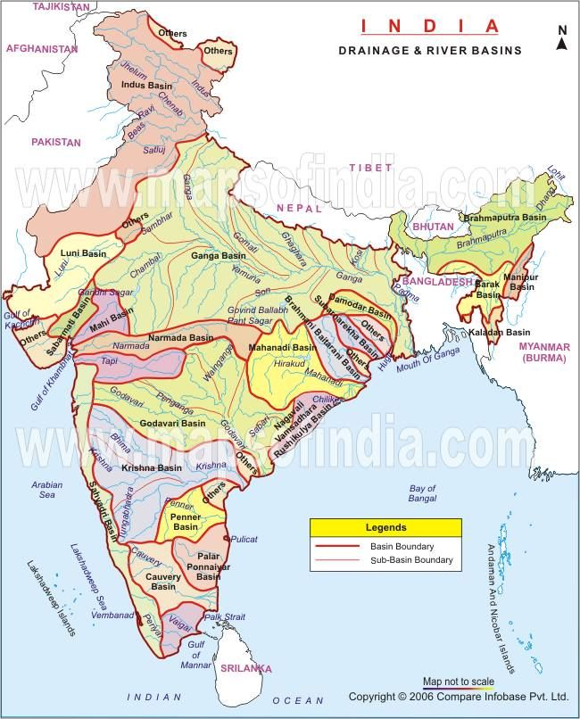 Drainage River Basins In India Maps India Map Indian River
