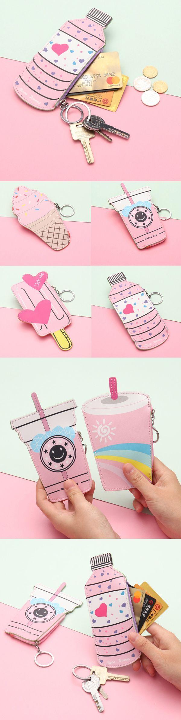 2 / US$11.50Girls Cute Ice Cream Shape Coin Bag Milk Tea Key Bag Card Bag#Eyes