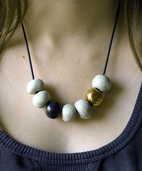 Statement Ivory Cream /& Orange w// Gold Beaded Loops Necklace