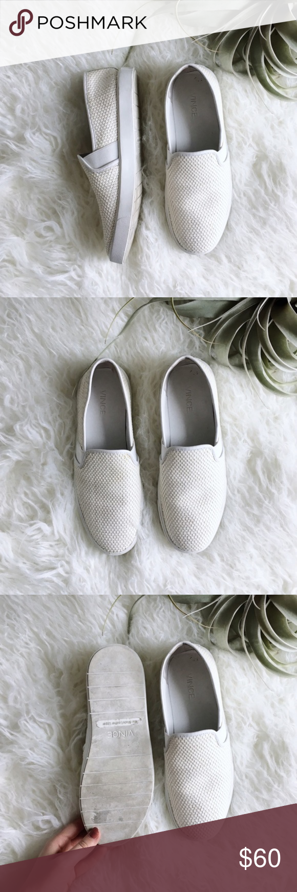 Vince Blair White Perforated Slip On