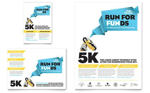 Charity Run Flyer Ad Template Design Campaign Pinterest