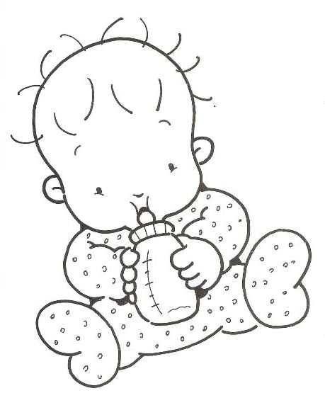 Bebé Sentado Con Biberón Dibujo Siluetas Bebe Para Pintar