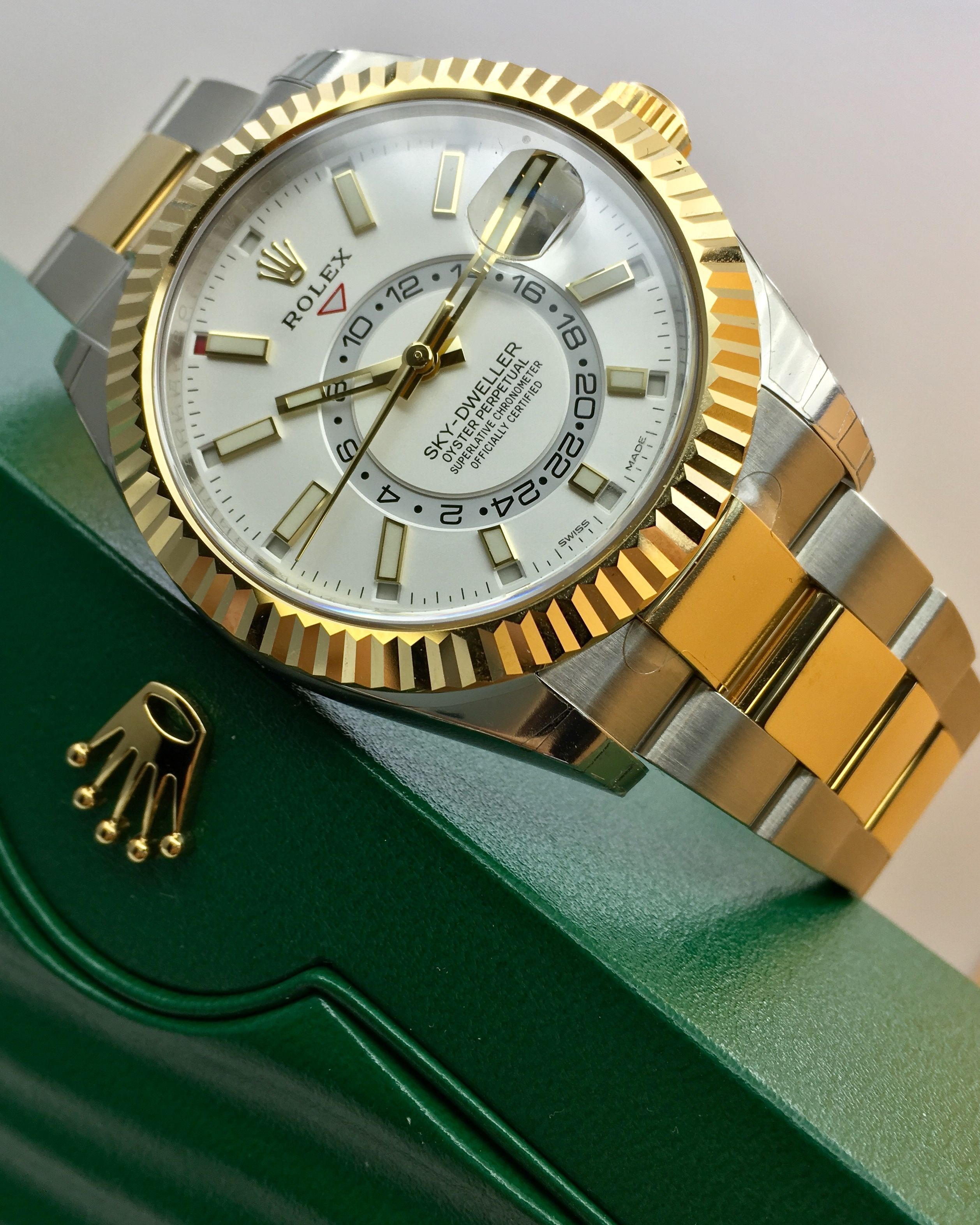 dec2ec57110 Rolex Sky-Dweller Steel   Yellow Gold White Dial 326933  MensWatches ...