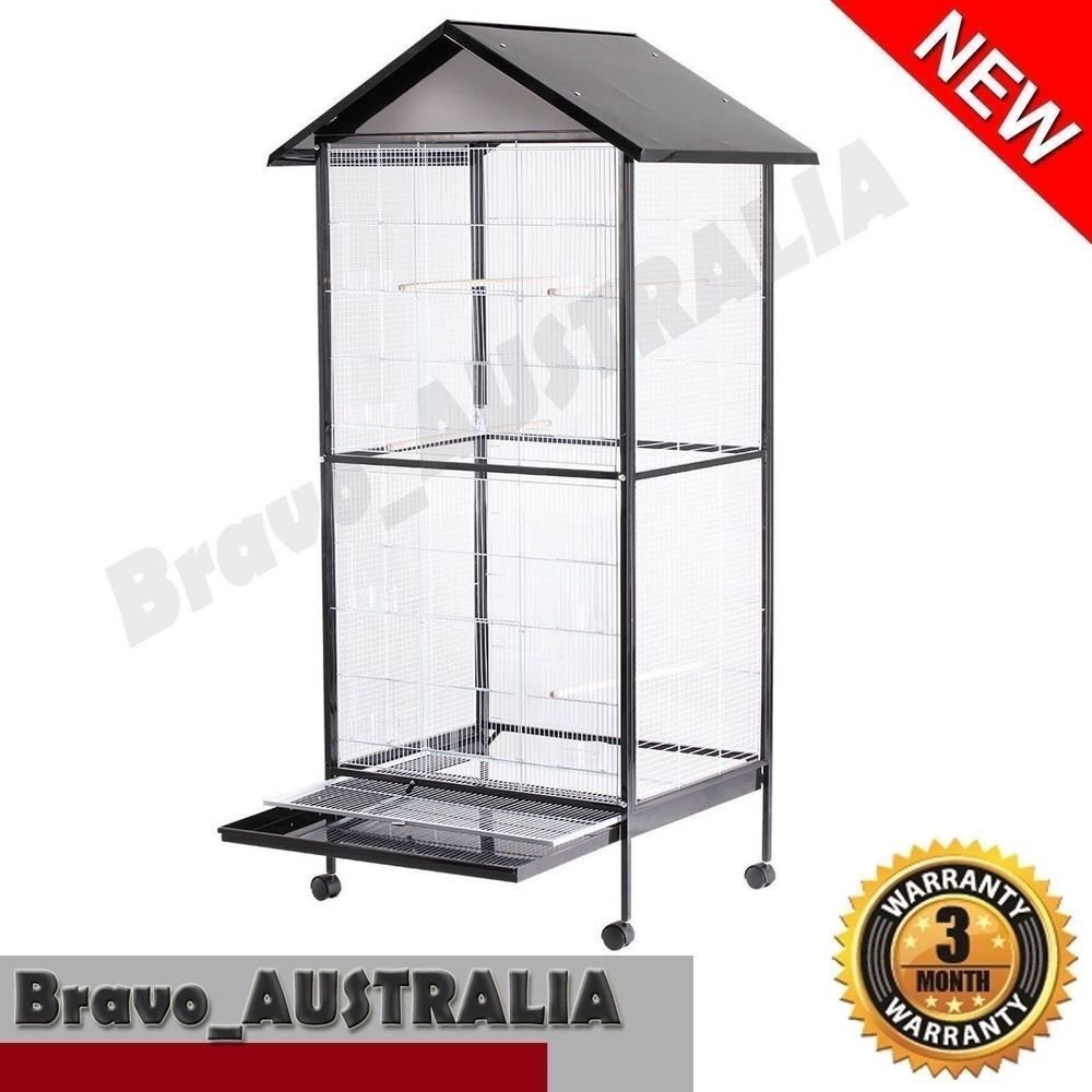 185cm Large Bird Cage Stand-alone Aviary on Castor Wheels 4 Perch ...