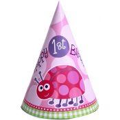 Ladybug 1st Birthday Pink Party Hats (8)