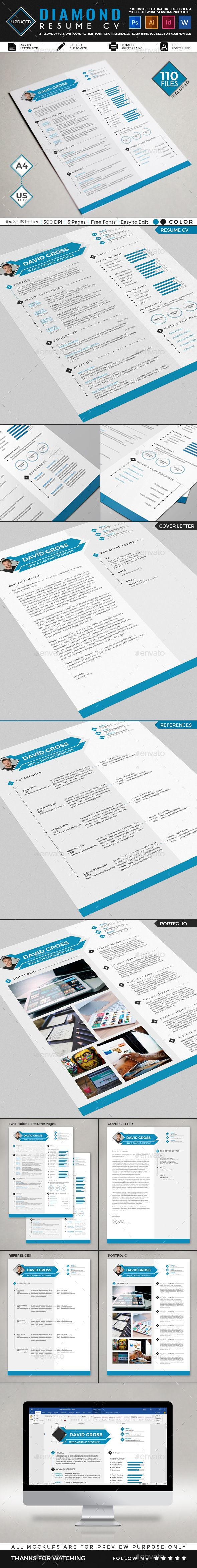 Diamond Resume CV Template Resume cv, Cv template