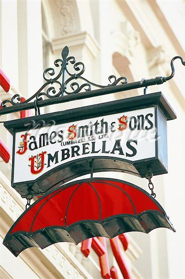 England, London, New Oxford Street, Umbrella Store Sign Stock Photos