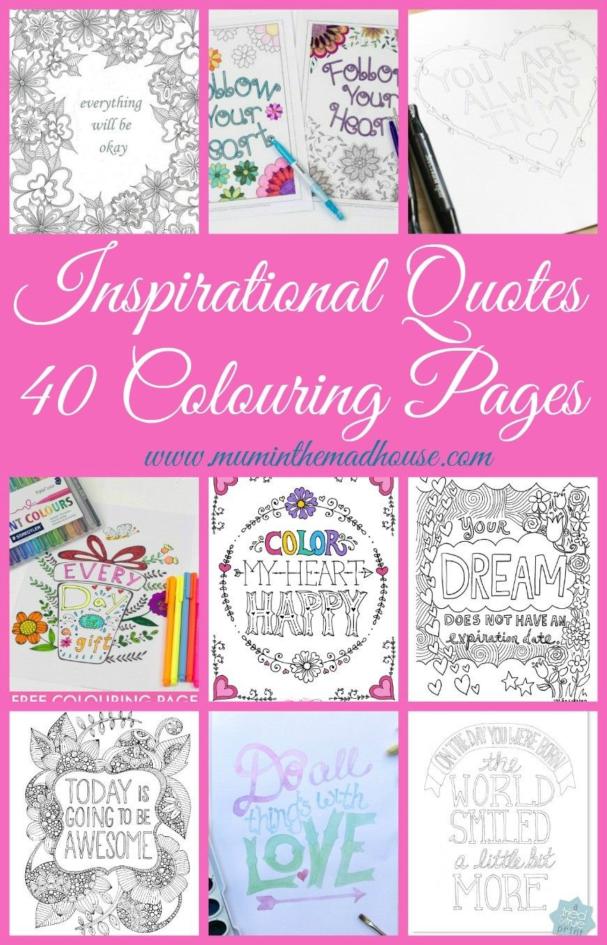 Inspirational Quotes Colouring Pages for Adults and Kids | Zentangle ...