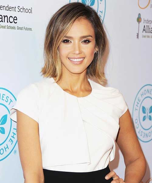 Jessica Alba Ombre Bob Cut Hairstyles With Bangs Pinterest And