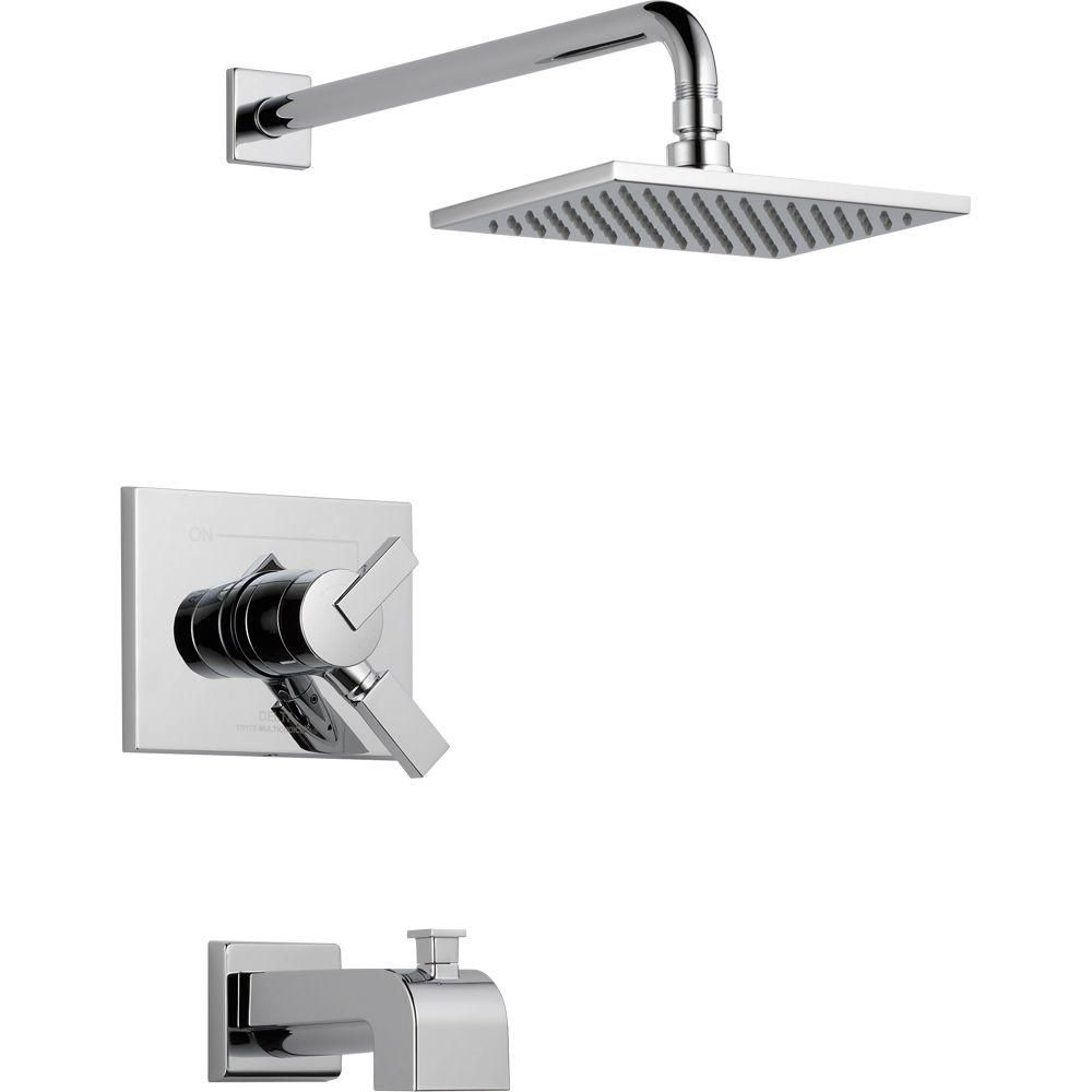 Delta Vero 1-Handle Tub and Shower Faucet Trim Kit in Chrome (Grey ...