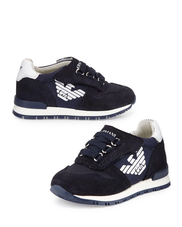 1822cb062c21 Leather-Trim Grip-Strap Sneaker Indigo Toddler