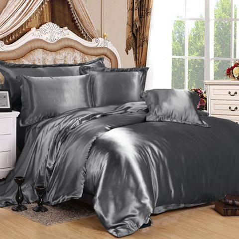 Charcoal Grey Silk Duvet Cover Baby Satin Bedding