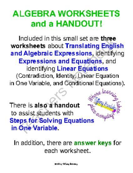 Translating Algebraic Expressions Identify Linear Equations