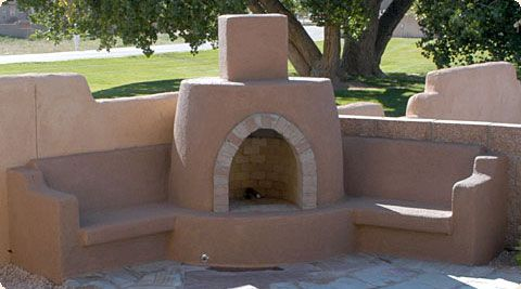 Custom Mason Built Outdoor Kiva Fireplace The Benches Extending Outward From The Kiva Fireplaces Abov Outdoor Fireplace Kits Backyard Fireplace Patio Pictures
