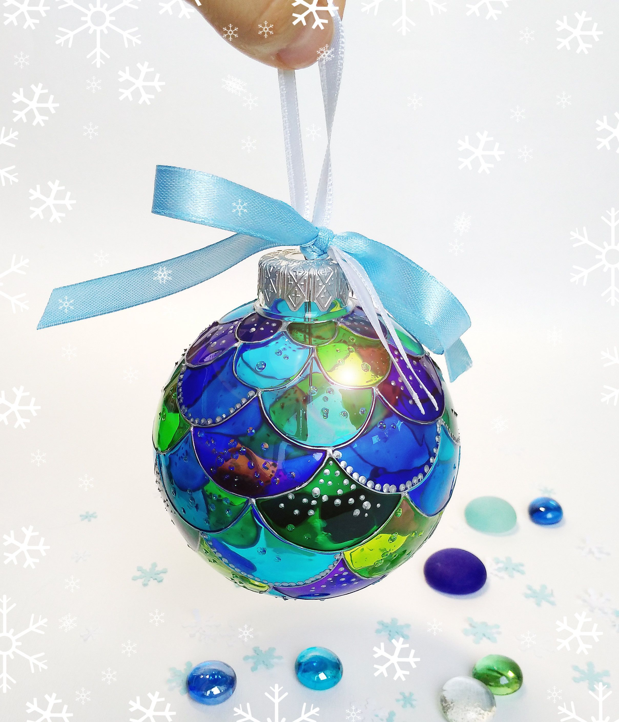 Christmas Mermaid Ornament Hand Painted Clear Glass Ball Christmas Tree Bubbles Mermaid Decoration Mermaid Gif Mermaid Ornament Mermaid Decor Mermaid Christmas