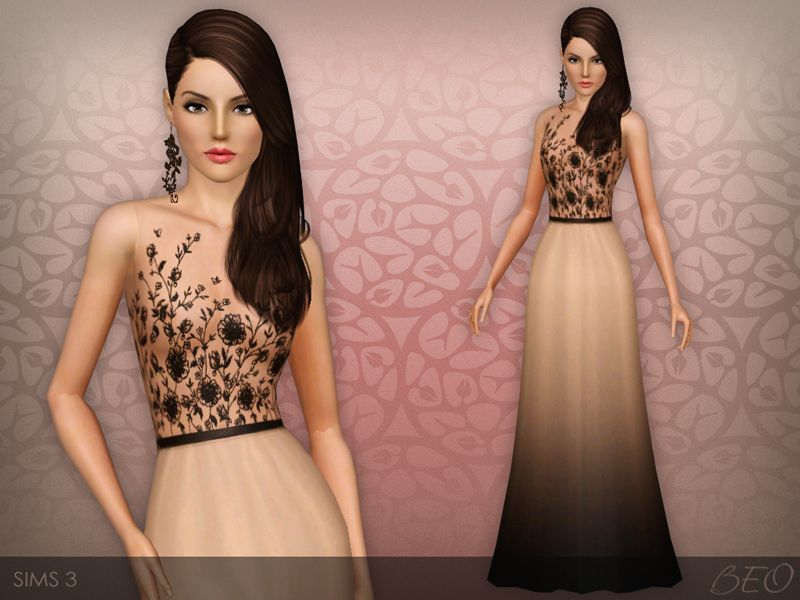 Embroidered transparent top dress for The Sims 3   ts3 cc
