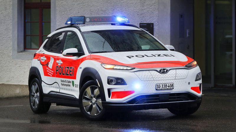 2019 Hyundai Kona Electric Police Cars Now In Use By Swiss Police Hyundai Automotive Automotive News