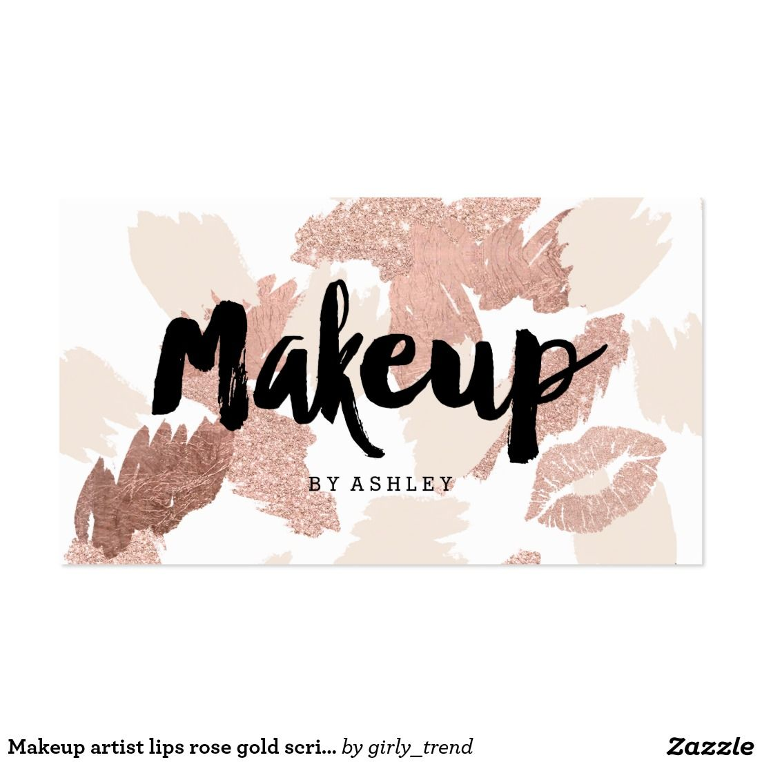 Makeup artist lips typography rose gold glitter business card makeup artist lips rose gold script brushstrokes business card magicingreecefo Images