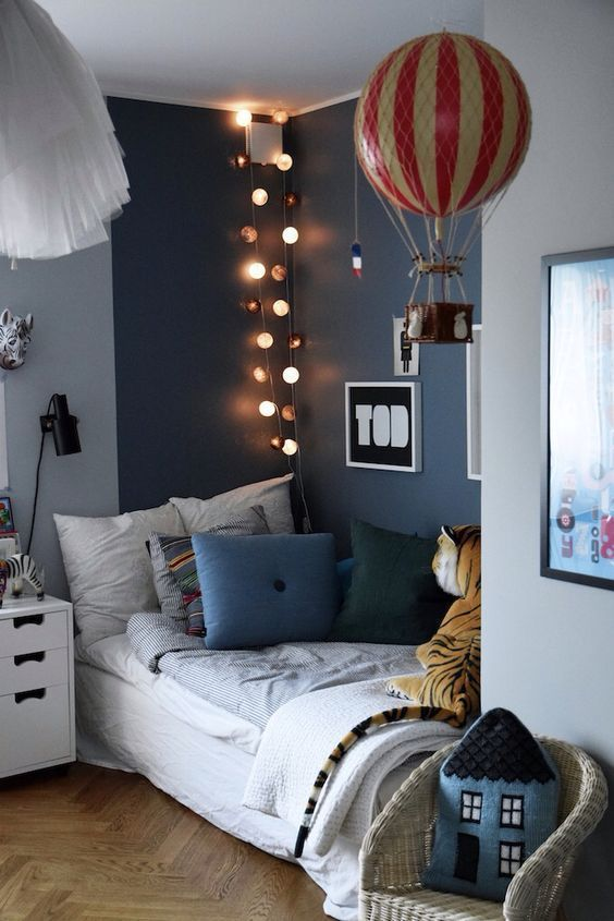 Liked this bedroom with one dark blue wall and the rest ...