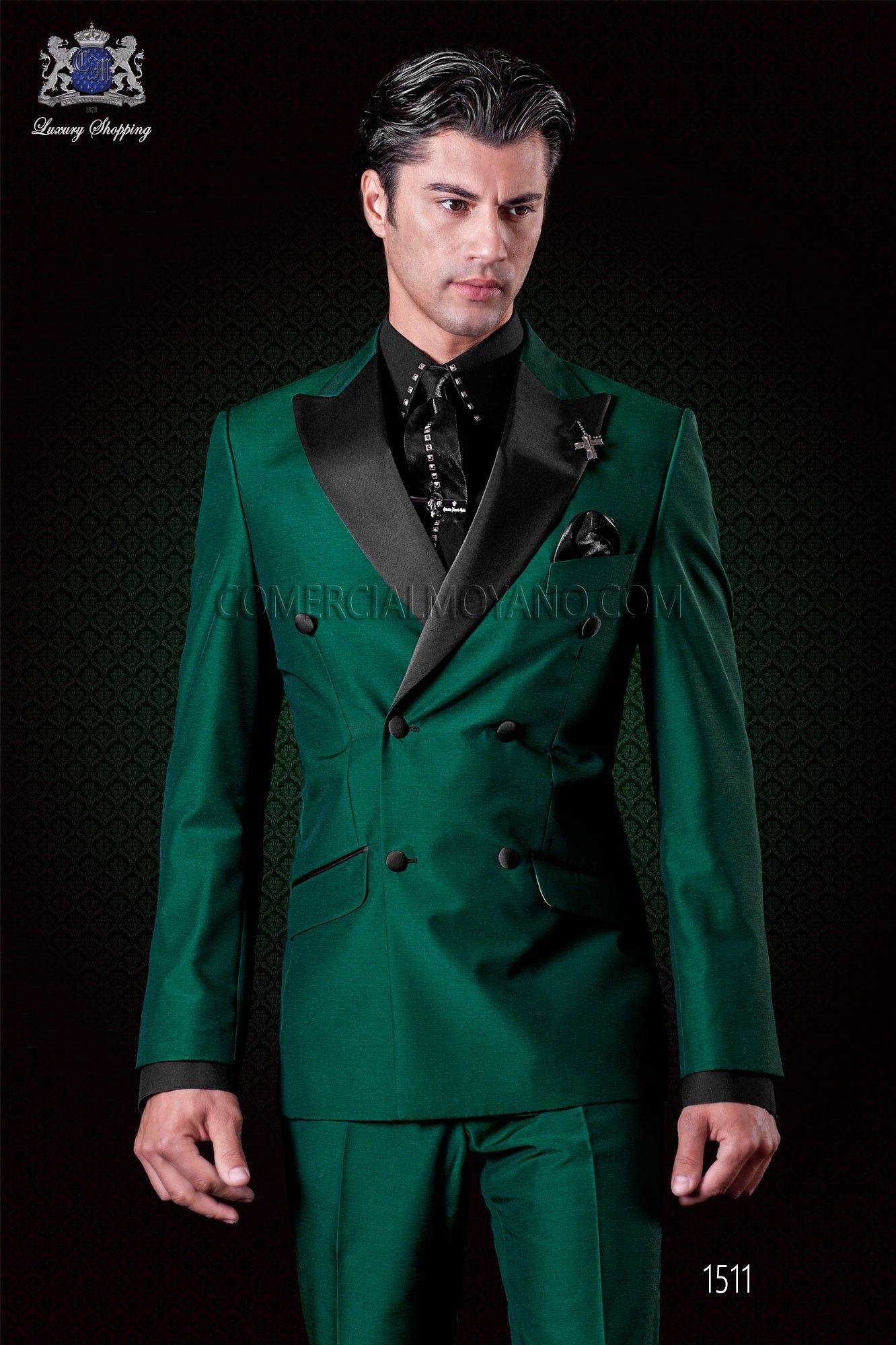 48216af18 Traje cruzado verde italiano de moda. Modelo cruzado solapa punta ...