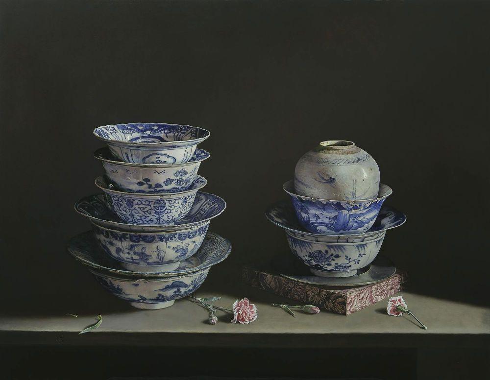 Erkin, Porcelain treasures- 2014- olieverf op paneel- 70 x 90 cm