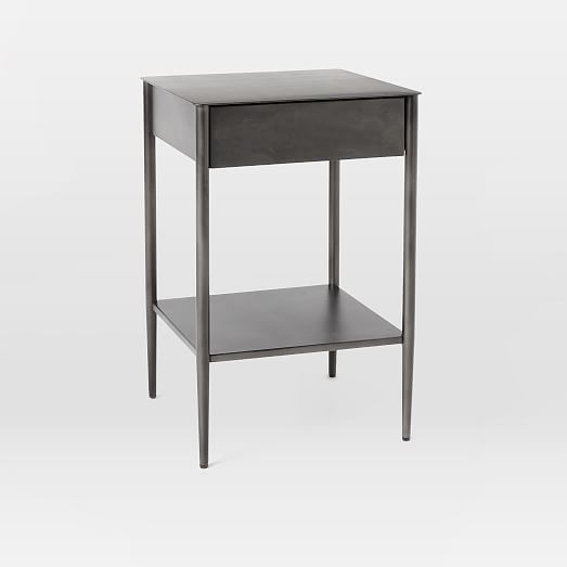 Metalwork Nightstand With Handle Hot Rolled Steel Finish Metal