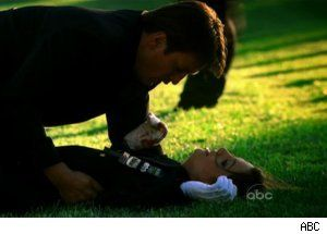 """Season 3 -Episode:  """"Knockout""""  Just after Kate has been shot and Castle tells her he loves her."""