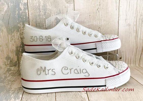 2020 Gelin Spor Ayakkabi Modelleri Beyaz Isim Baskili Converse Converse Ayakkabilar Sneaker