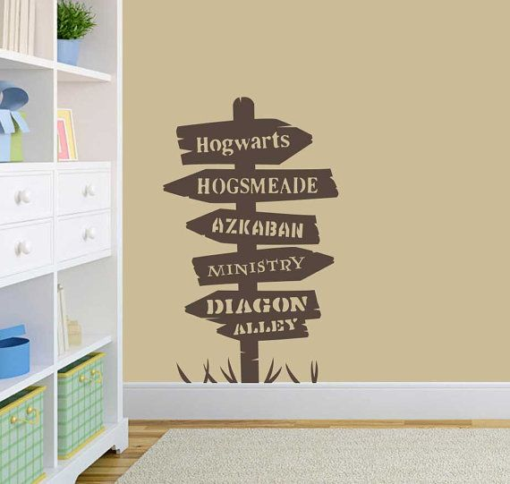 Harry Potter Inspired Road Sign Wall Art Vinyl Decal Sticker