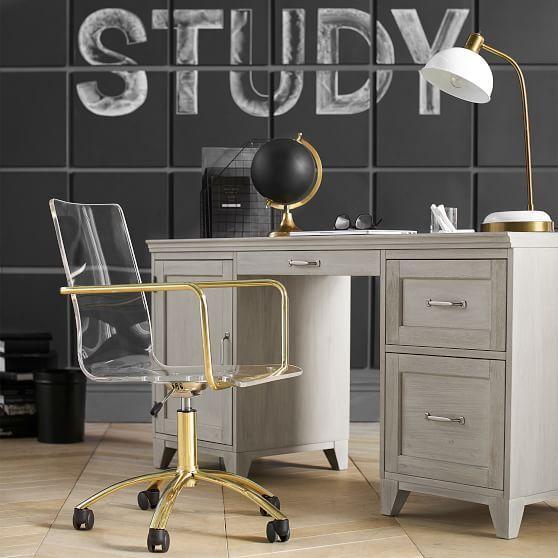 Gold Paige Acrylic Swivel Desk Chair White Desk Chair Office