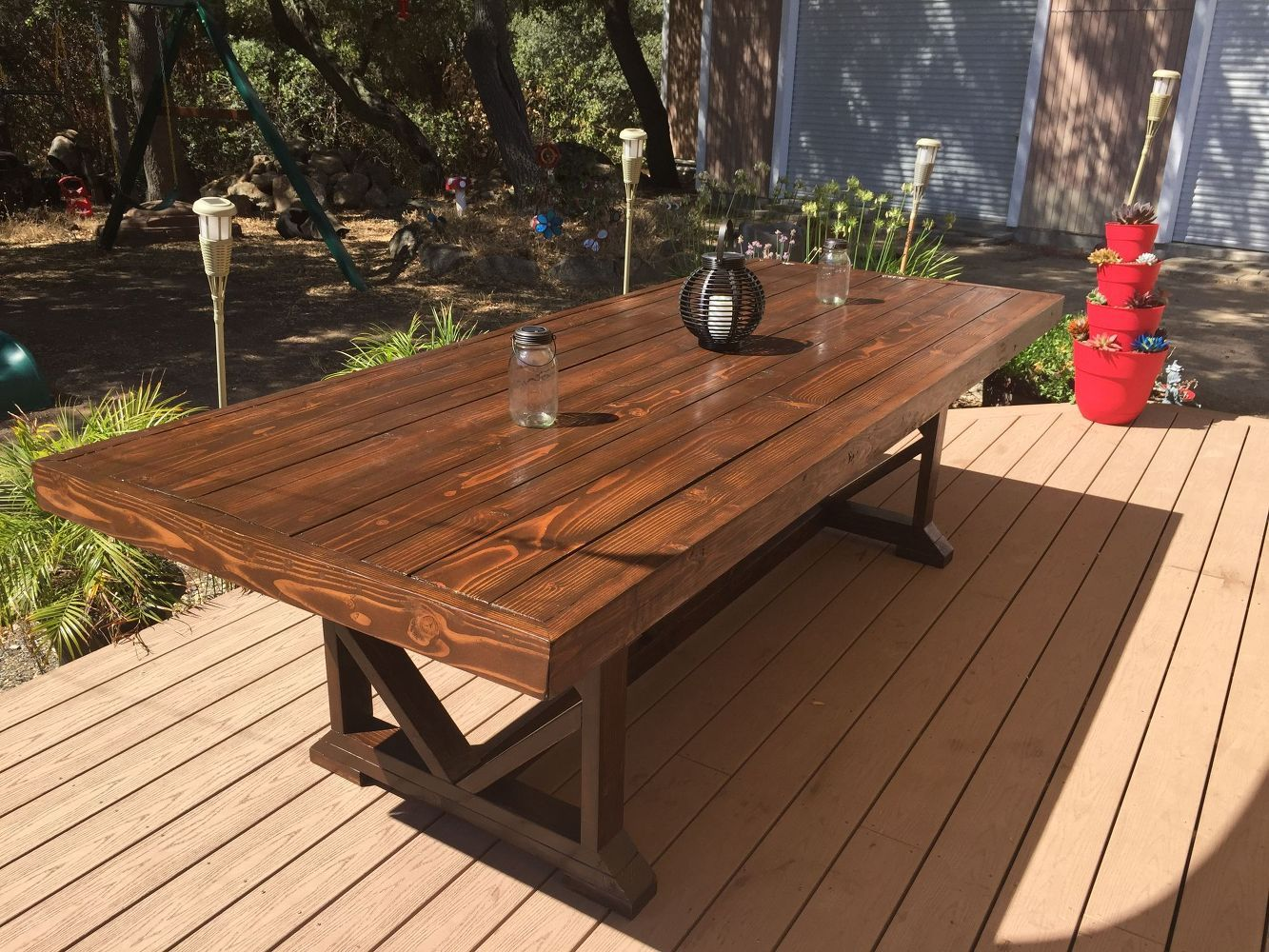 Diy large outdoor dining table seats 10 12 diy outdoor furniture outdoor living woodworking projects