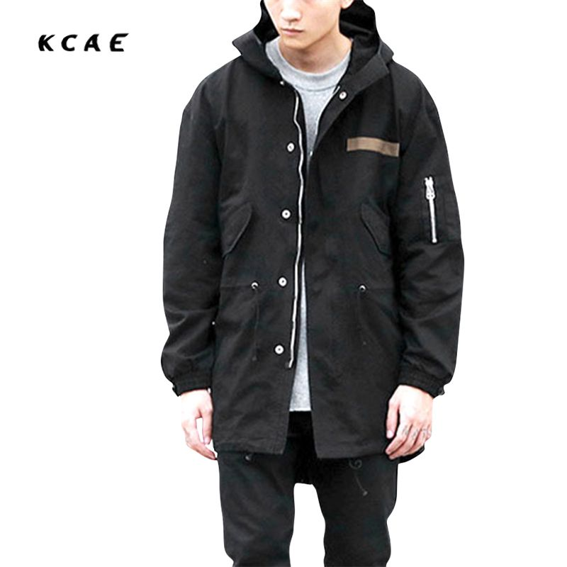 2017 new high street military style long section hip hop loose windbreaker male black and - Mantel Der Ideen Mit Uhr Verziert