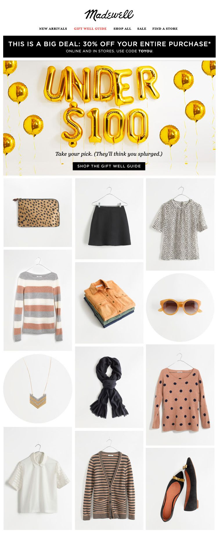 Madewell Gifts By Price Email Design Email Newsletter Design