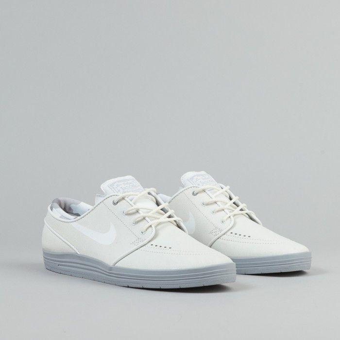 Nike SB Stefan Janoski Lunar Summit White Sneakers (Summit White/White-Wolf Grey)