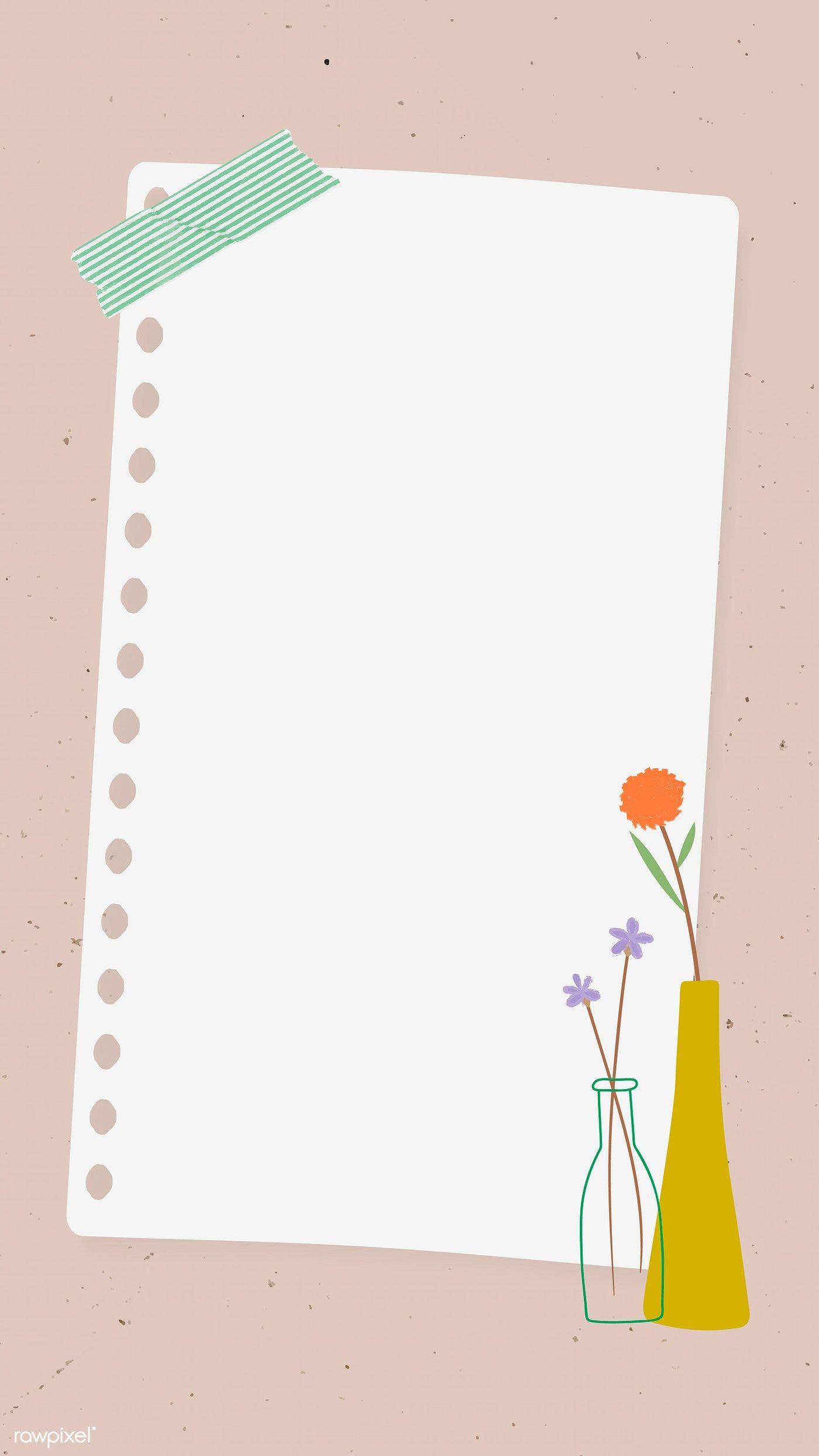 Download Premium Vector Of Doodle Flowers In Vases Note Paper On Pink Flower Doodles Note Paper Flower Background Wallpaper