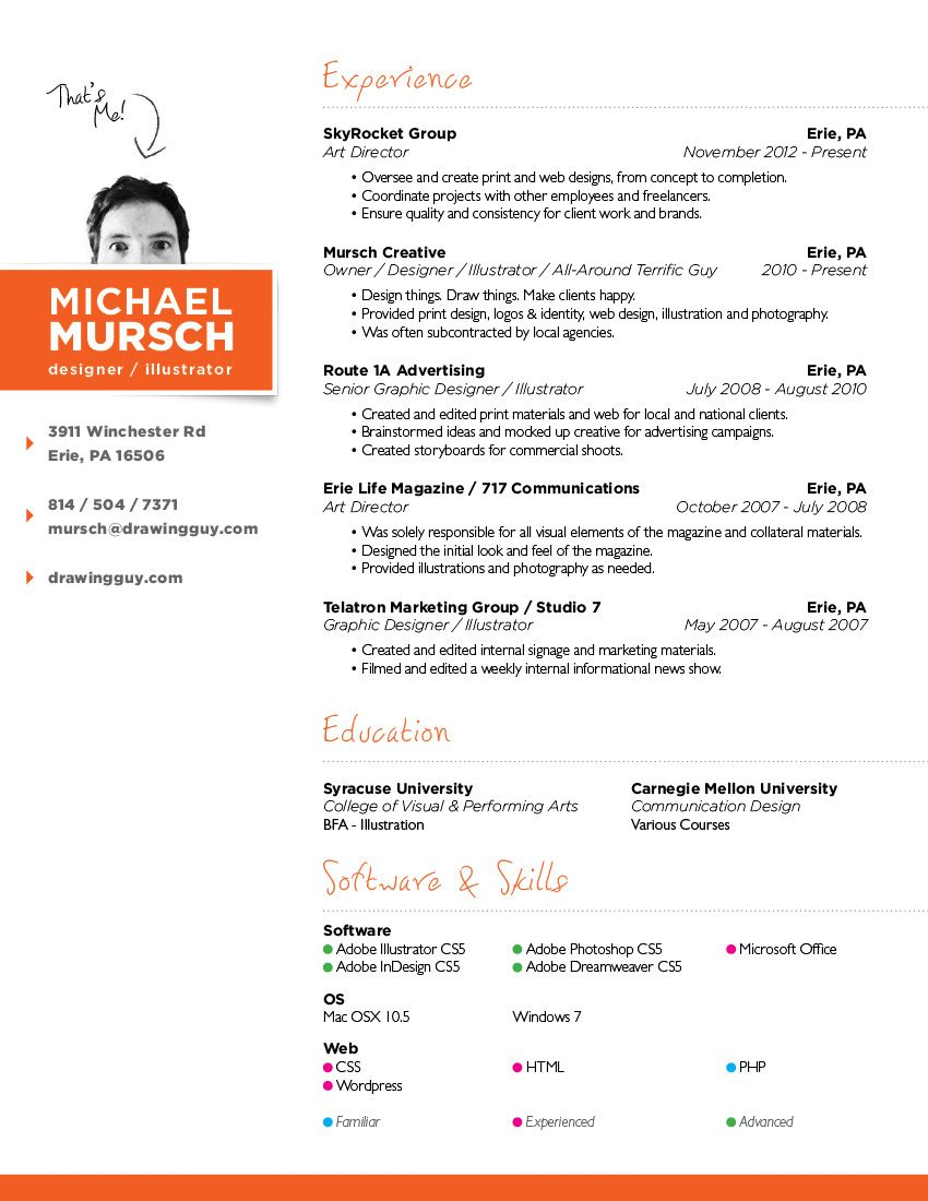 Resume Michael Mursch Erie Pa Graphic Design Web Design Illustration Web Designer Resume Resume Design Graphic Design Resume