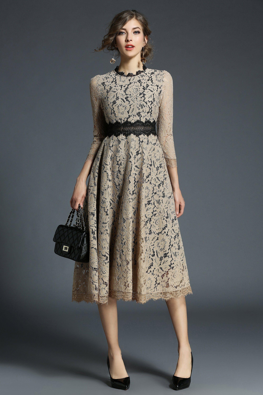 Evening crewneck sleeves lace below knee dress Сукні