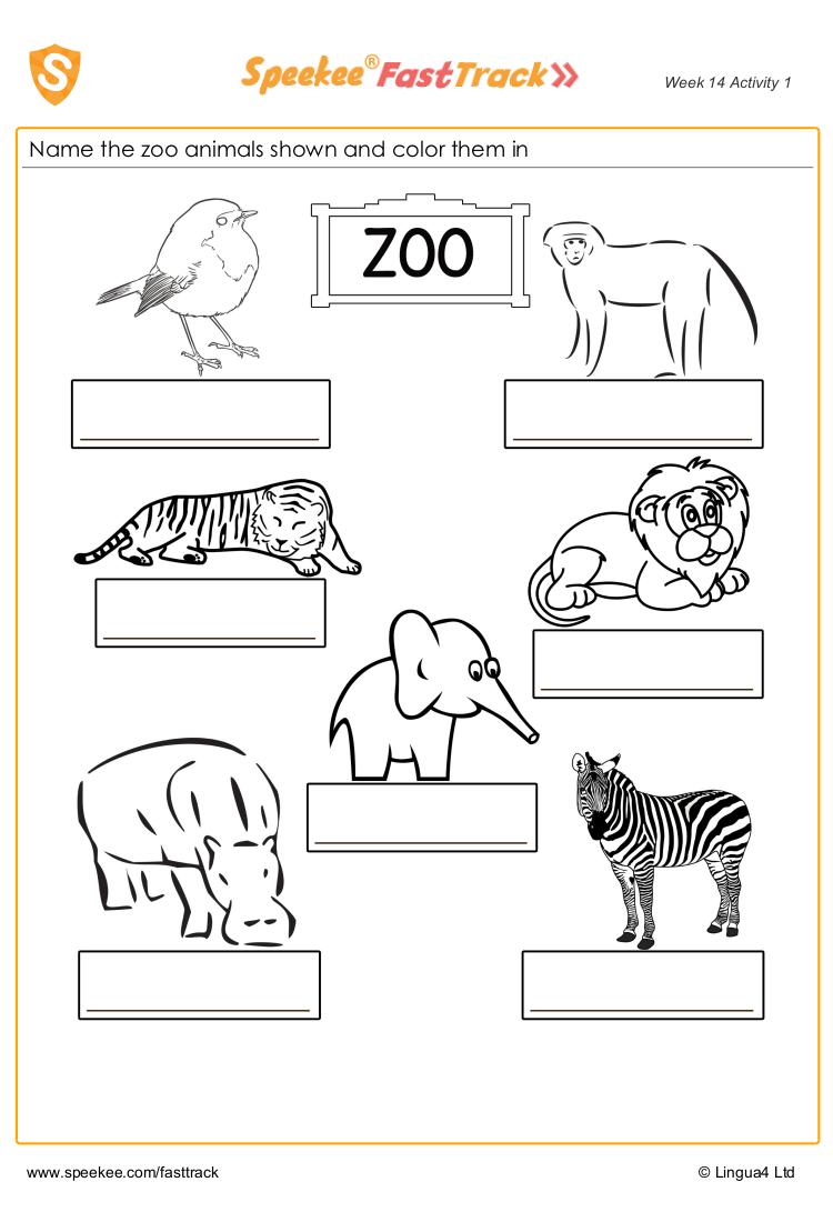 Name The Spanish Zoo Animals Zoo Animal Coloring Pages Zoo Animals For Kids Zoo Animals [ 1100 x 750 Pixel ]